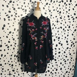 Zara Flower Embroidered Blouse
